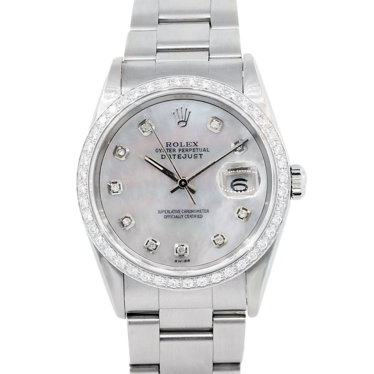 You are viewing this Rolex 16200 Tahitian Mother of Pearl Diamond Watch!