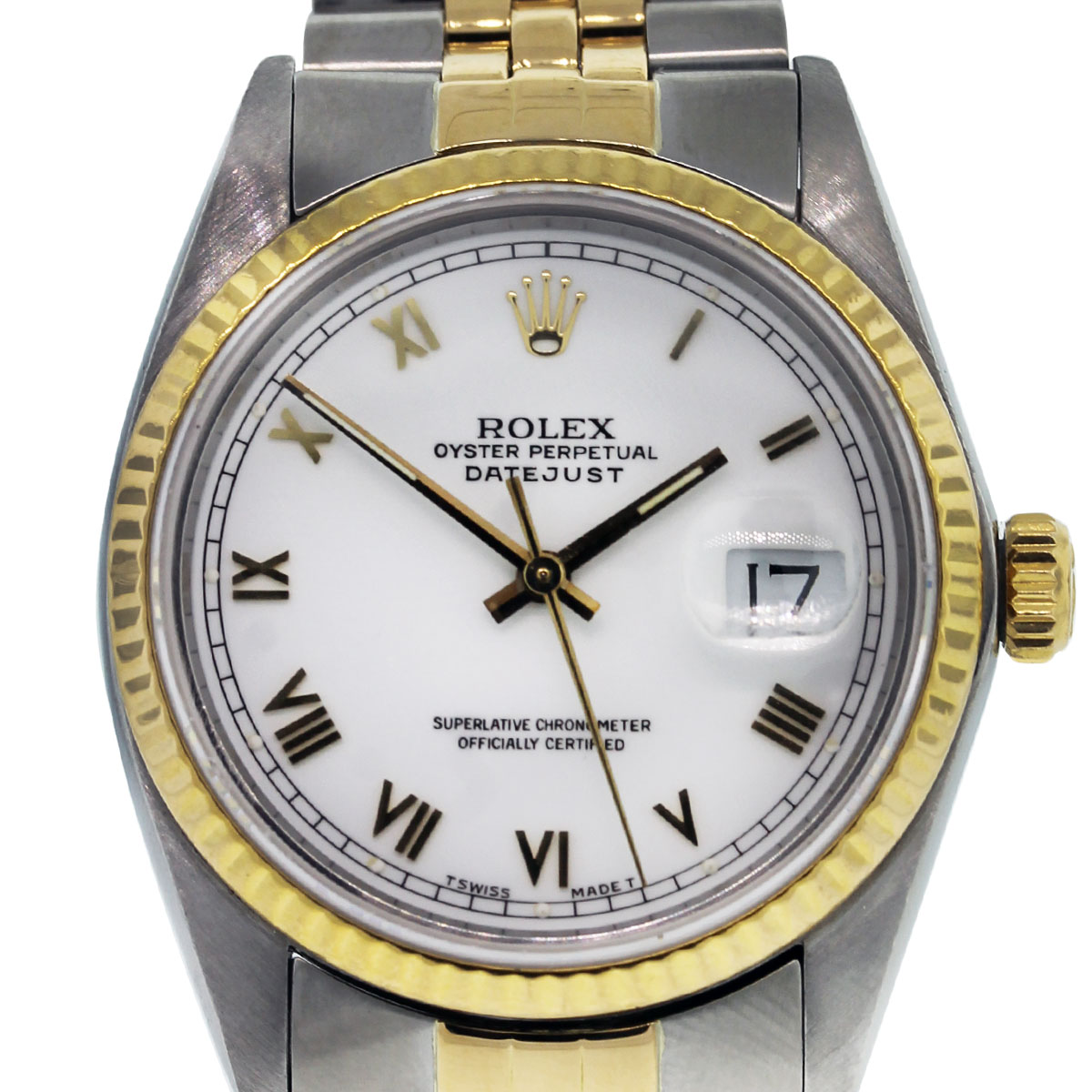 You are viewing this Rolex 16523 Two Tone Datejust White Dial Wristwatch!