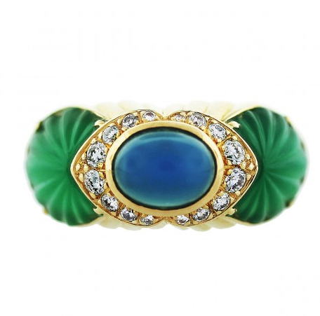 Cartier 18K Yellow Gold Chalcedony Chrysoprase and Diamond Ring
