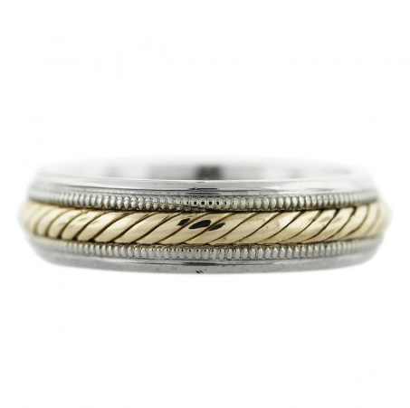14K Two Tone Gold Rope Design Mens Wedding Band