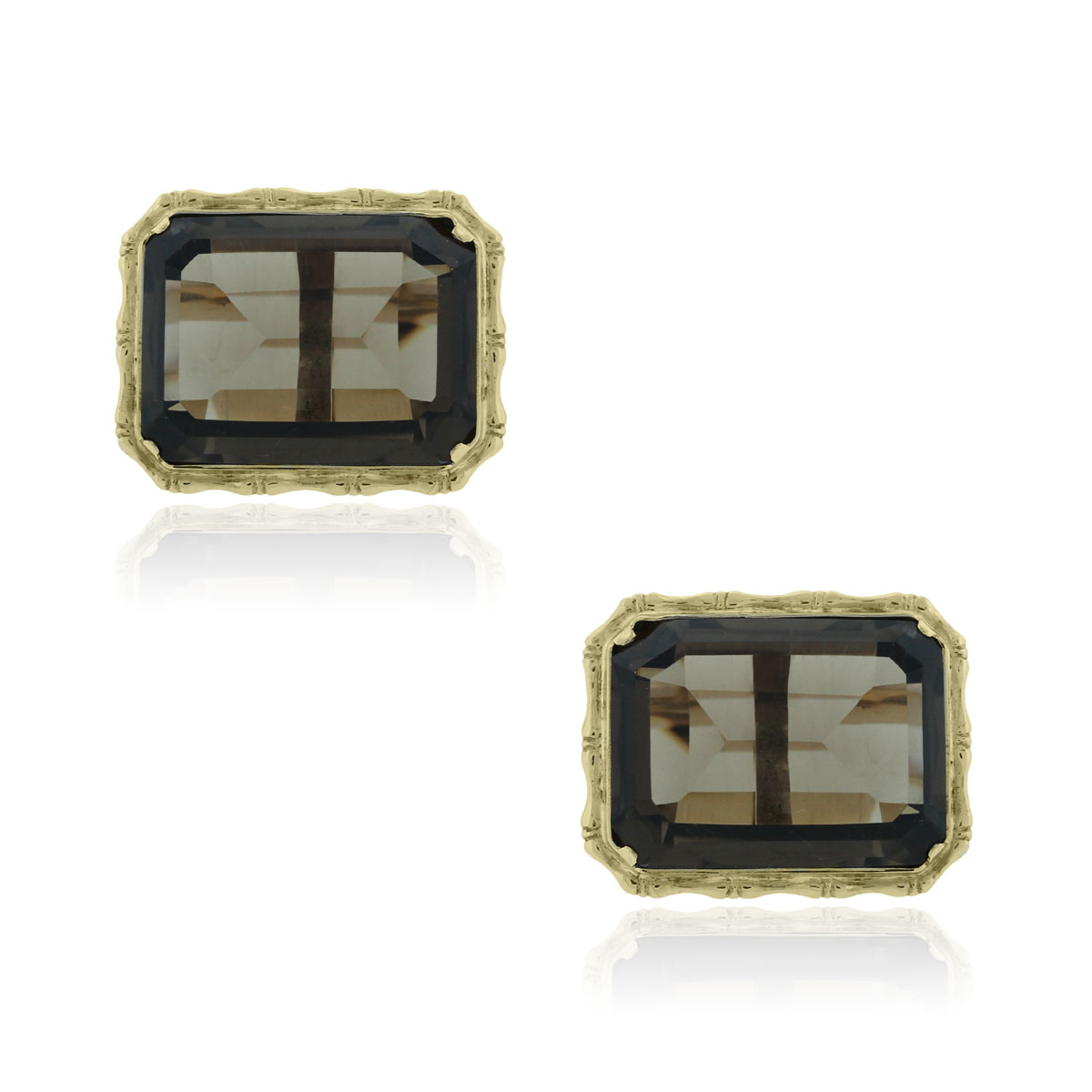 You are viewing these 18k Yellow Gold Emerald Shape Smoky Quartz Cuff Links!