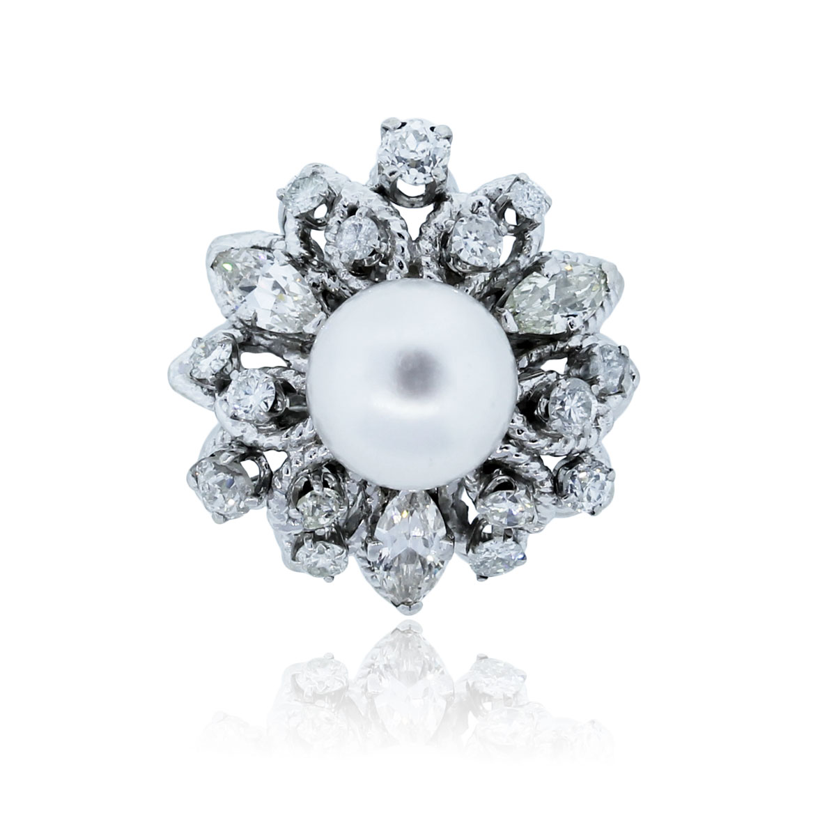 You are viewing this 14K White Gold, Diamond and South Sea Pearl Ring!