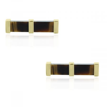 You are viewing these 14k Yellow Gold Tigers Eye Single Bar Cuff Links!