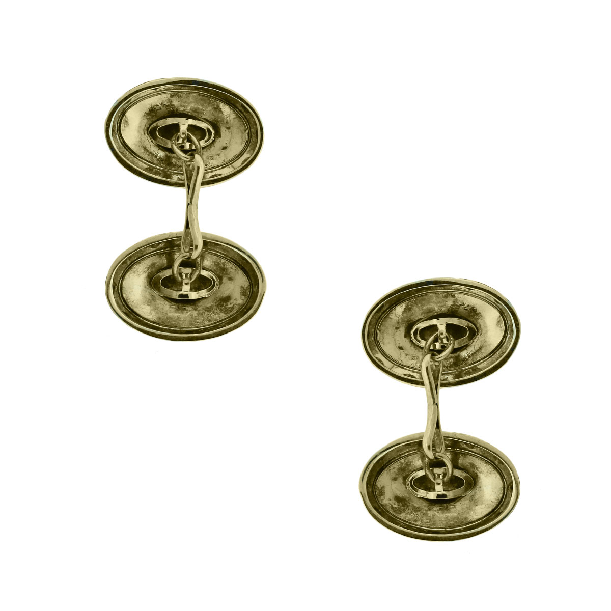 14k Two Tone Gold Textured Cuff Links