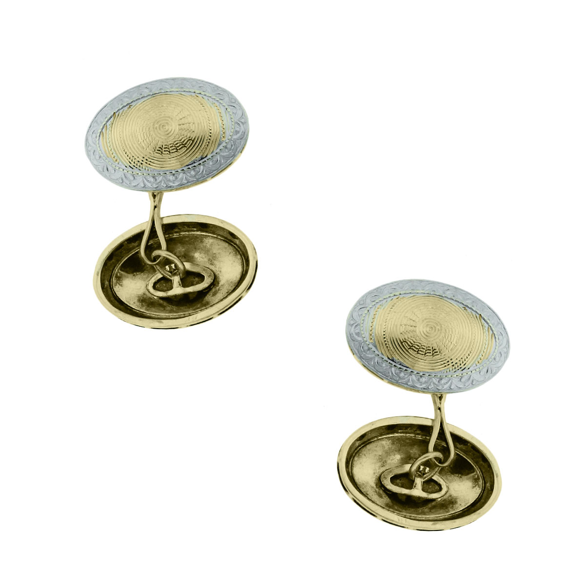 14k Two Tone Gold Oval Cuff Links