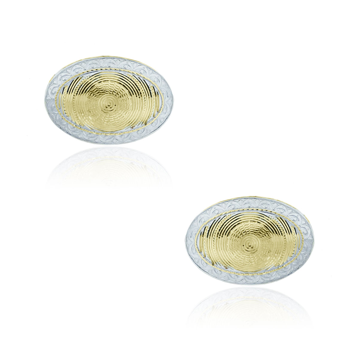 You are viewing these 14k Two Tone Gold Oval Textured Cuff Links!