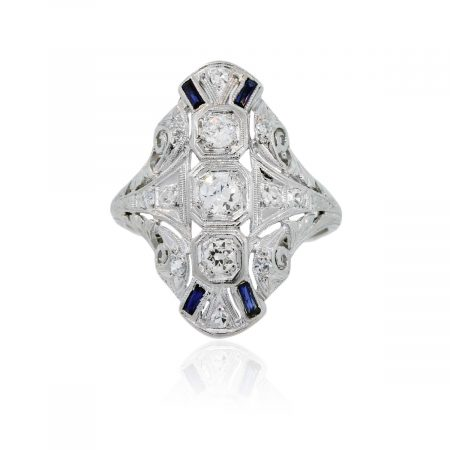 You are viewing this Platinum .60ctw Diamond Blue Sapphire Vintage Ring!