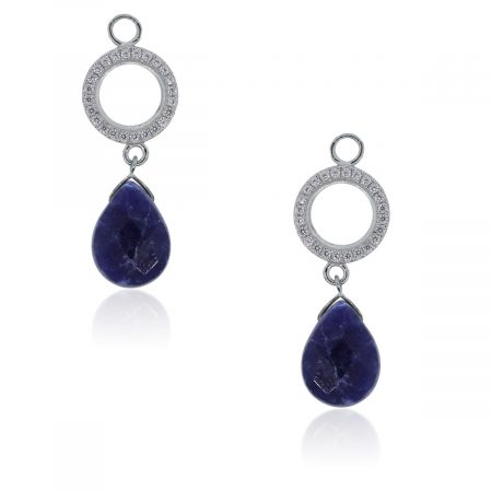You are viewing these 14k White Gold Diamonds & Sodalite Earring Jackets!