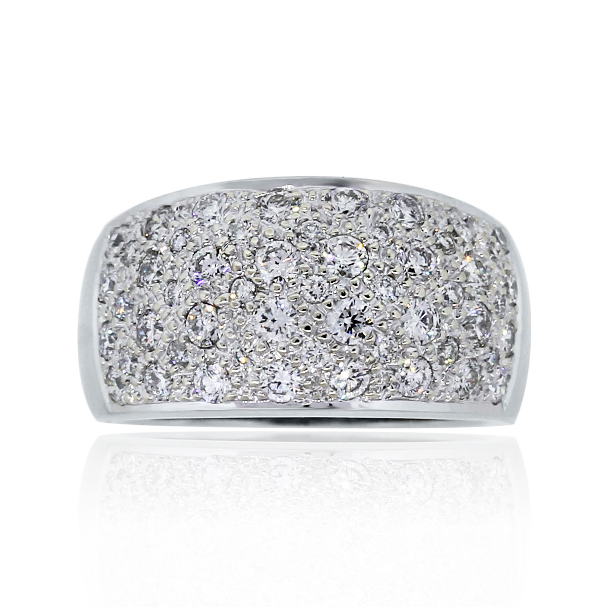You are viewing this 14k White Gold 1ctw Diamond Pave Band Ring!