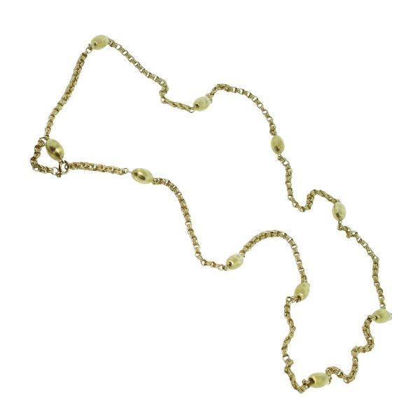 """18k Yellow Gold 42"""" Chain Bead Necklace"""