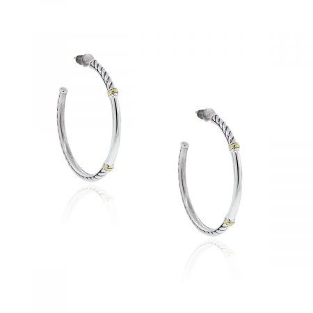 You are viewing these David Yurman Sterling Silver 18k Gold Hoop Earrings!