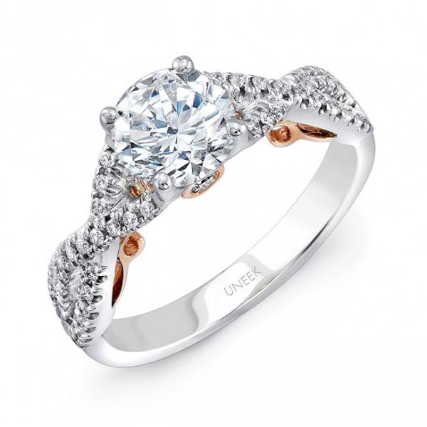 You are viewing this Uneek 14k White & Rose Gold .25ctw Solitare Ring!