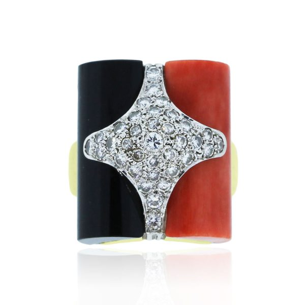 You are viewing this La Triomphe 18k Gold Diamond Coral Black Onyx Ring!
