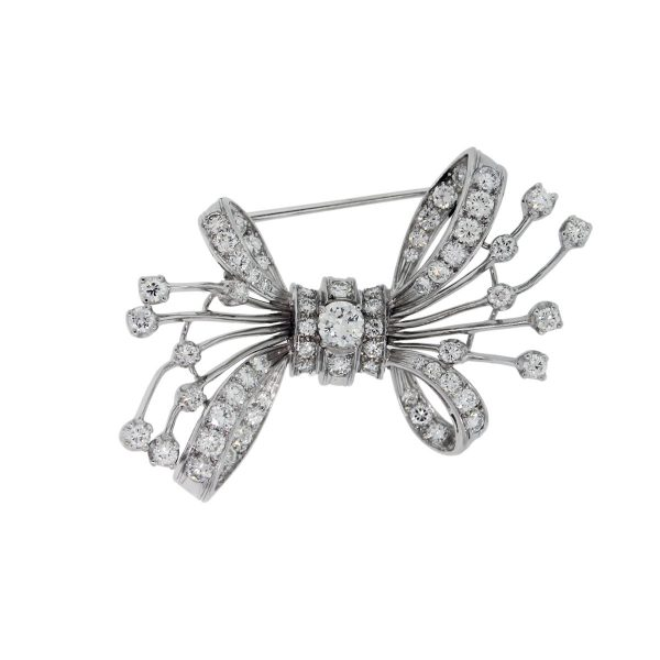 You are viewing this Platinum 3.5ctw Diamond Bow Pin!