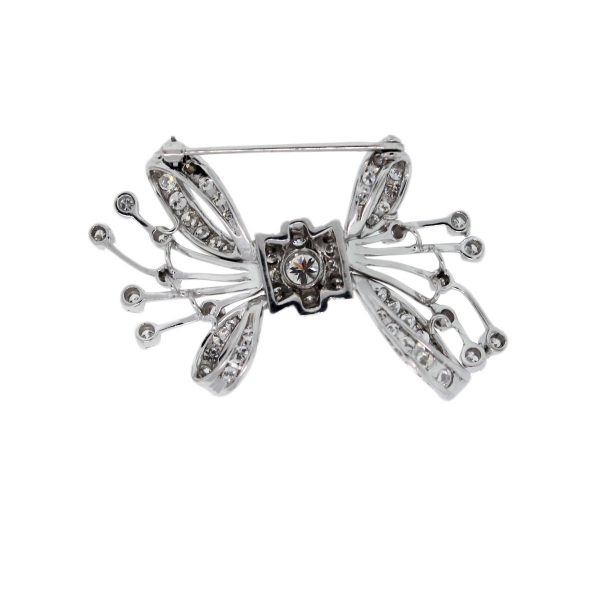 Platinum 3.5ctw Diamond Bow Pin Back