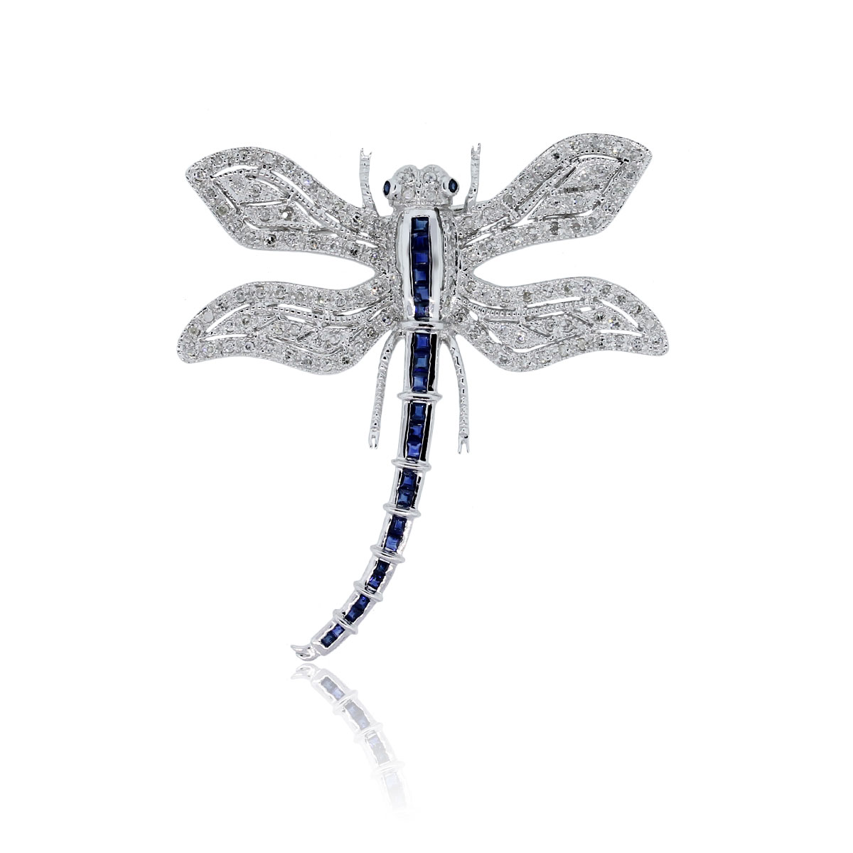 You are viewing this 14k White Gold Diamond Sapphire Dragonfly Brooch Pin!