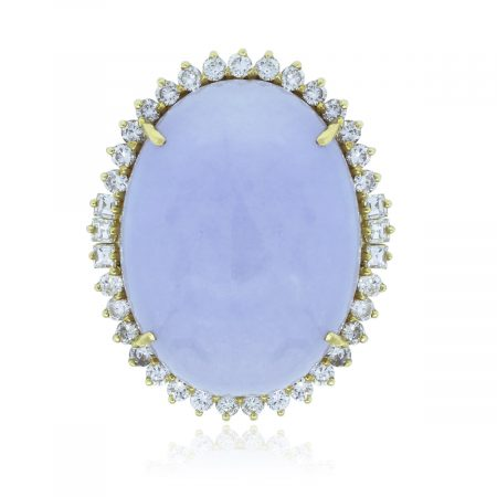 You are viewing this 14k Yellow Gold Oval Lavender Jade Diamond Ring!
