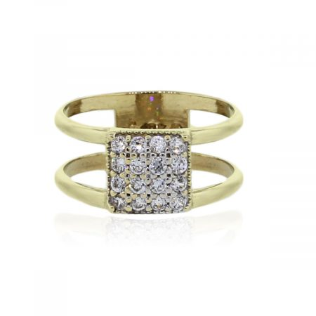 You are viewing this 10k Yellow Gold .32ctw Diamond Square Cluster Ring!
