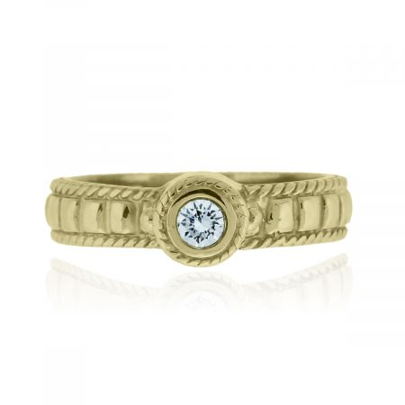You are viewing this 18k Yellow Gold .10ct Diamond Solitaire Bezel Set Ring!