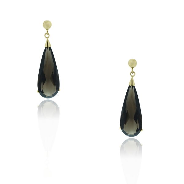 You are viewing these 14k Yellow Gold Pear Shape Smoky Quartz Dangle Earrings!