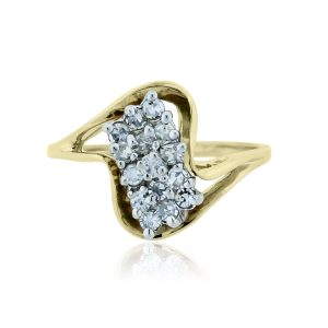 You are viewing this 14k Yellow Gold .50ctw Diamond Cluster Ring!