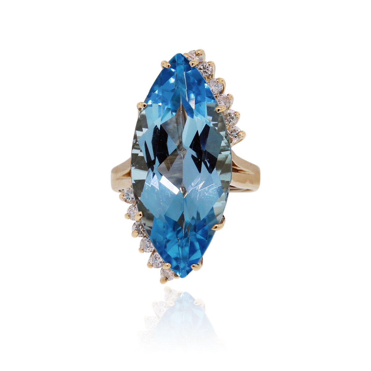 14k Yellow Gold .50ctw Diamond & Blue Topaz Ring