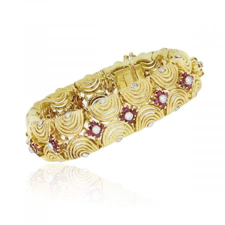 You are viewing this 18k Yellow Gold 2ctw Diamond & Ruby Vintage Bracelet