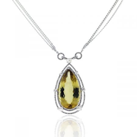 You are viewing this 18k White Gold 65ct Yellow Beryl Diamond Necklace!