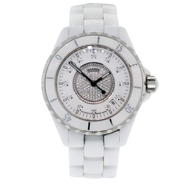 Chanel J12 White Ceramic Diamond Dial Watch