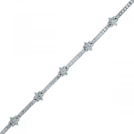 You are viewing this 14k White Gold 1.75ctw Diamond Floral Tennis Bracelet!