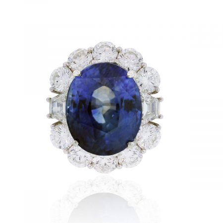 You are viewing this Platinum GIA 18.28ct Oval Blue Sapphire & Diamond Ring !