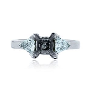 You are viewing this Platinum 4 Prong .70ctw Trillian Shape Diamond Mounting!