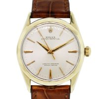 Rolex 1025 Champagne Dial on Leather Strap Wristwatch