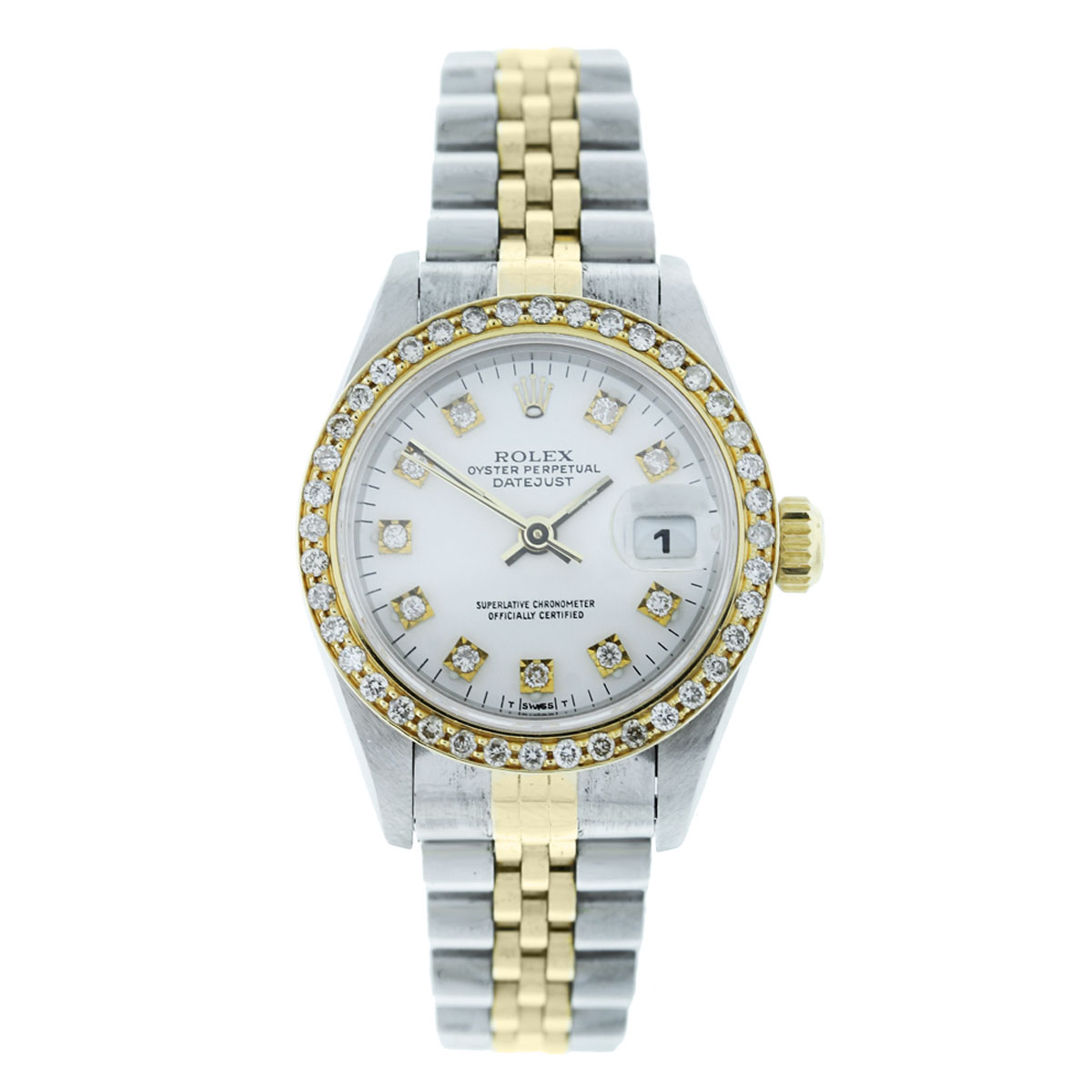 Rolex datejust 69173 diamond dial bezel ladies watch for Diamond dial watch