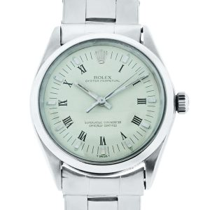 You are viewing this Rolex 1002 Oyster Perpetual Beige Roman Dial Steel Watch!