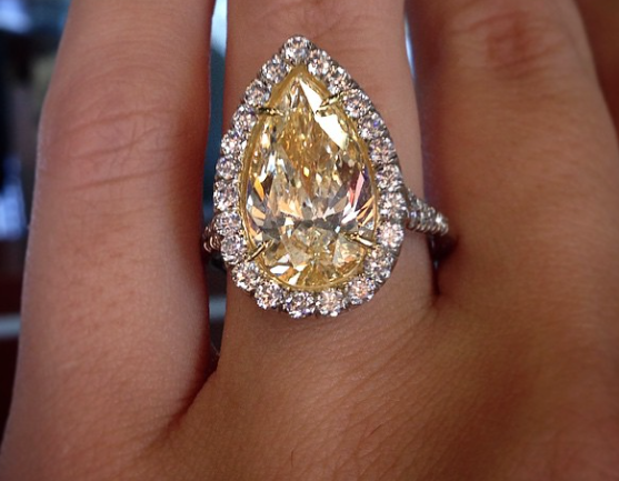 Fancy Yellow Pear Shaped Diamond Engagement Ring