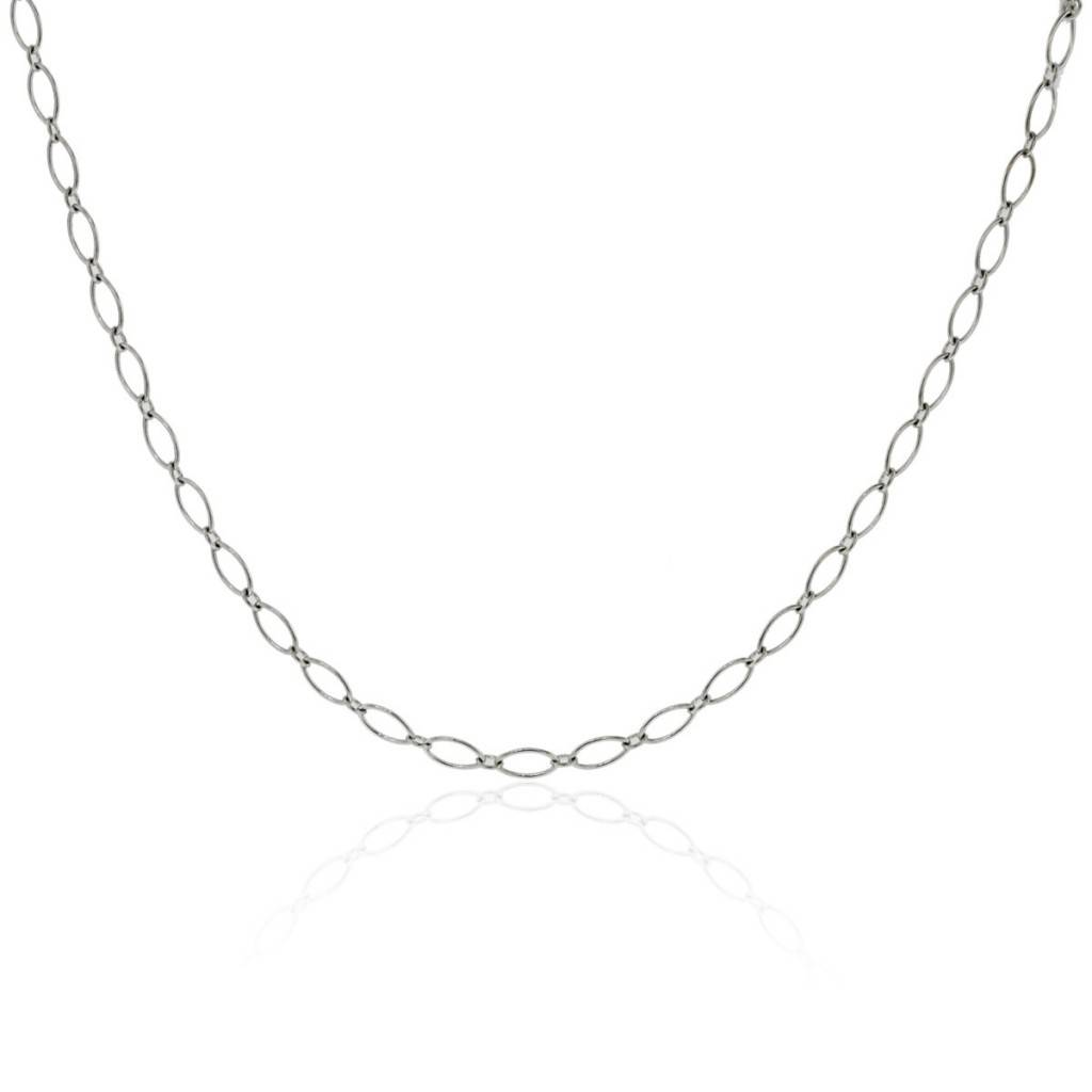 Tiffany Amp Co 18k White Gold Oval Link Chain Necklace