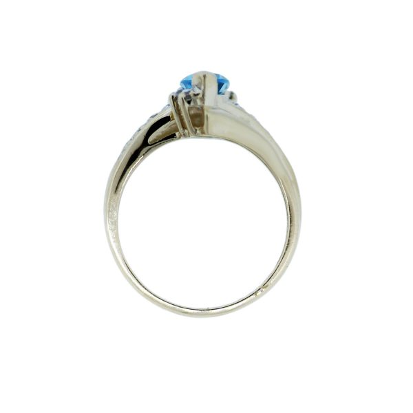 10k Yellow Gold Marquise Blue Topaz Diamond Ring!