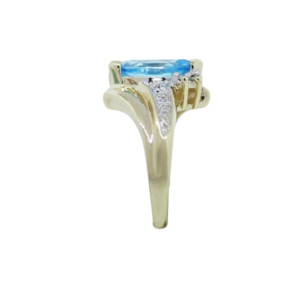10k Yellow Gold Marquise Blue Topaz Diamond Ring