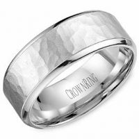 Crown Ring WB-9968-M10 Hammered Wedding Band