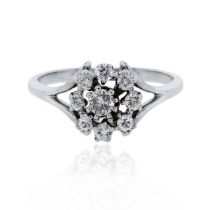 You are viewing this 14k White Gold .50ctw Diamond Flower Ring!