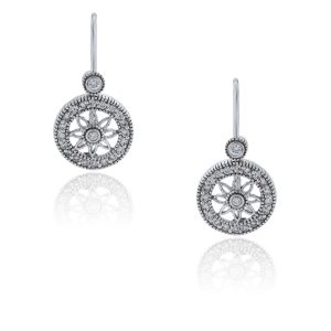 You are viewing these 14k White Gold .50ctw Diamond Flower Dangle Earrings!