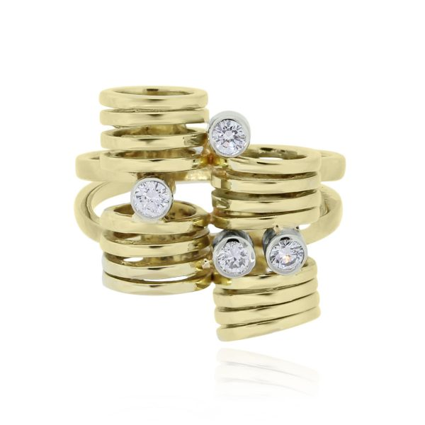 You are viewing this 18k Yellow Gold .20ctw Diamond Coil Ring!