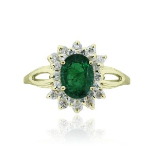 You are viewing this 14k Yellow Gold 1.2ct Emerald & .40ctw Diamond Ring!