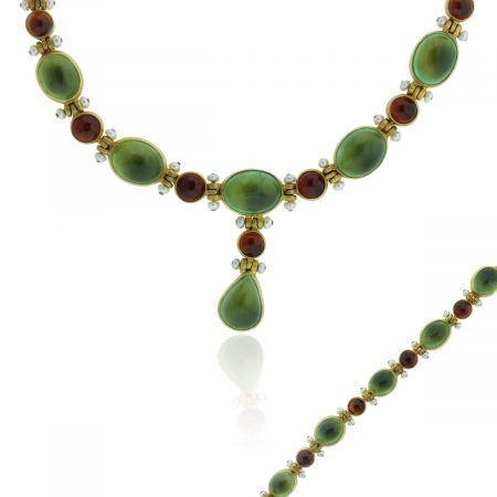 You are viewing this 24k Yellow Gold Multi Gemstone Bracelet & Necklace Set!