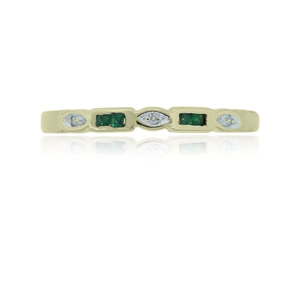 You are viewing this 14k Yellow Gold Diamond & Emerald Stackable Ring!