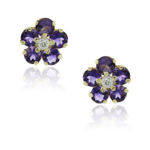 You are viewing this 14k Yellow Gold Amethyst & Diamond Flower Earrings!
