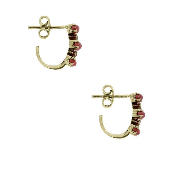18k Yellow Gold Diamond & Cabochon Coral Earrings
