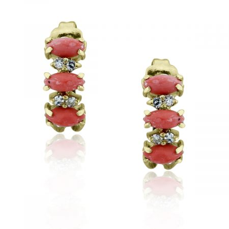 You are viewing these 18k Yellow Gold Diamond & Oval Cabochon Coral Earrings!
