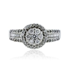 You are viewing this 14k White Gold .90ctw Diamond Halo Ring!